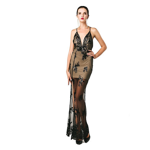 Black See Thru Sequin Gown