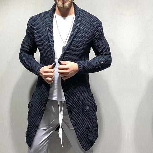 Sweater Men Standard Wool Casual Turn-Down Collar Open Stitch Fashion Tops Male