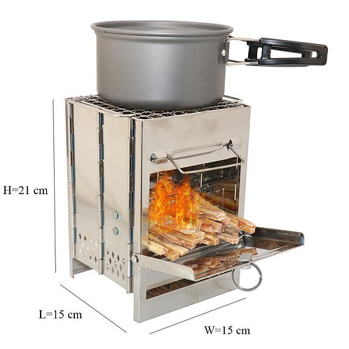 Folding Stainless Steel Stove Portable Outdoor Camping Wood Burning BBQ Oven
