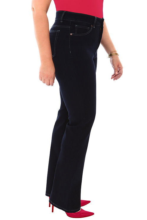 360 Stretch High Rise Straight (To Slight Boot Cut) Denim Jeans in Black Onyx