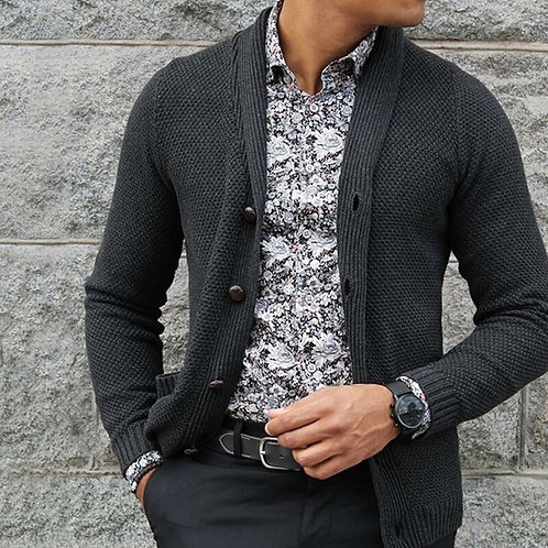 Thick Sweater Men Turn-Down Collar Single Breasted Open Stitch Knitting Casual