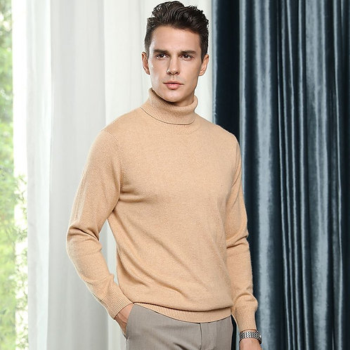 Men's Turtleneck 100% Goat Cashmere Sweaters Turn-Down Collar Pullover