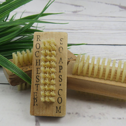 Wooden nail brush with natural bristles