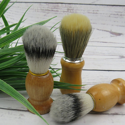 Wooden shaving brush with natural bristles