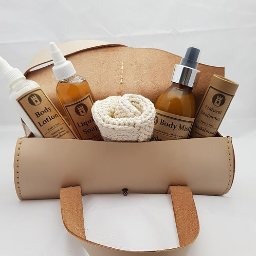 Custom Made Leather Ladies Toiletry bag with toiletries