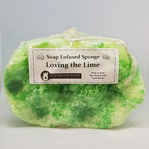 Soap infused massage sponge -Loving the Lime