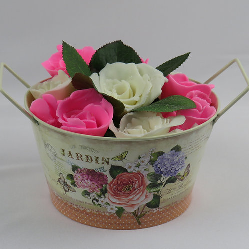 Hand made soap roses in a tin