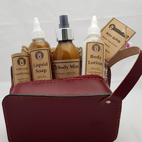 Custom Made Leather Gents Toiletry Bag & Toiletries