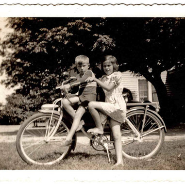 WYR1 with sister on bicycle - June 1942.