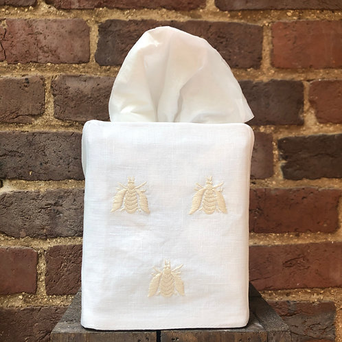 Embroidered Bee Tissue Box Cover - Ivory on White