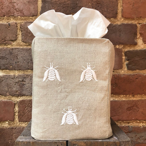 Embroidered Bee Tissue Box Cover - White on Flax