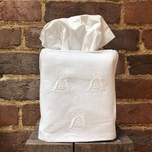 Embroidered Bee Tissue Box Cover - White on White