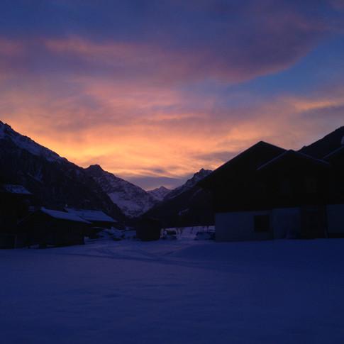 Swiss Alps morning coffee