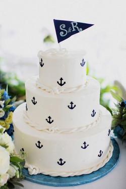 nautical wedding cake with anchors.jpg