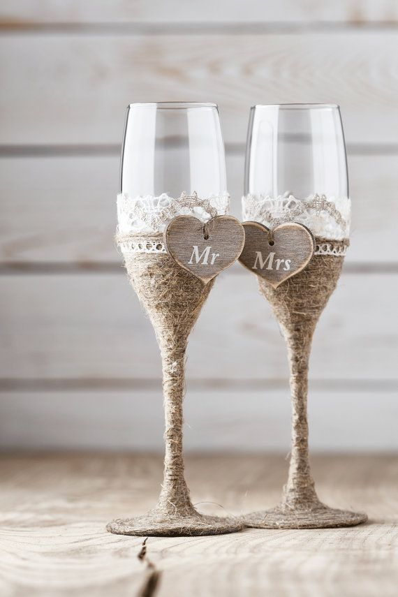 rustic  weding DYI champaign glasses Champagne Flutes.jpg