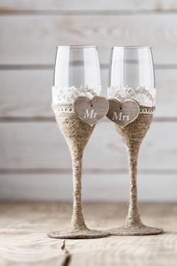 rustic  weding DYI champaign glasses Champagne Flutes.jpg