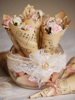 music themed wedding petal cones.jpg