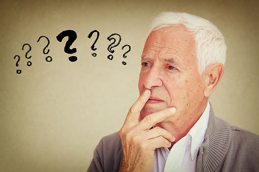 image of senior man thinking with set of