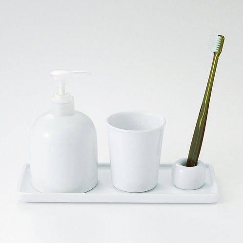 MUJI White Porcelain 4 Items Set,  Tray,Soap Dispenser,Cup,Tooth Brush Stand