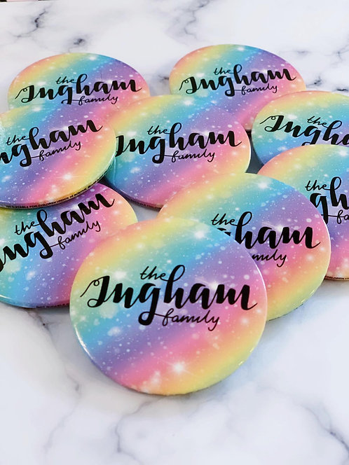 Ingham Family Galaxy 55mm Button Badge