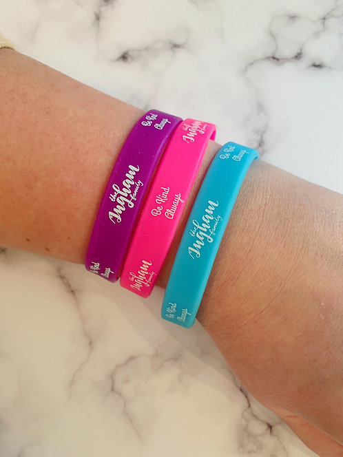 "Ingham Family ""Be Kind"" Wrist Bands - 100% Mental Health Charity Donation."