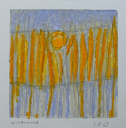 1.8.13 winterwood, mixed media on paper, 4 x 4 inches