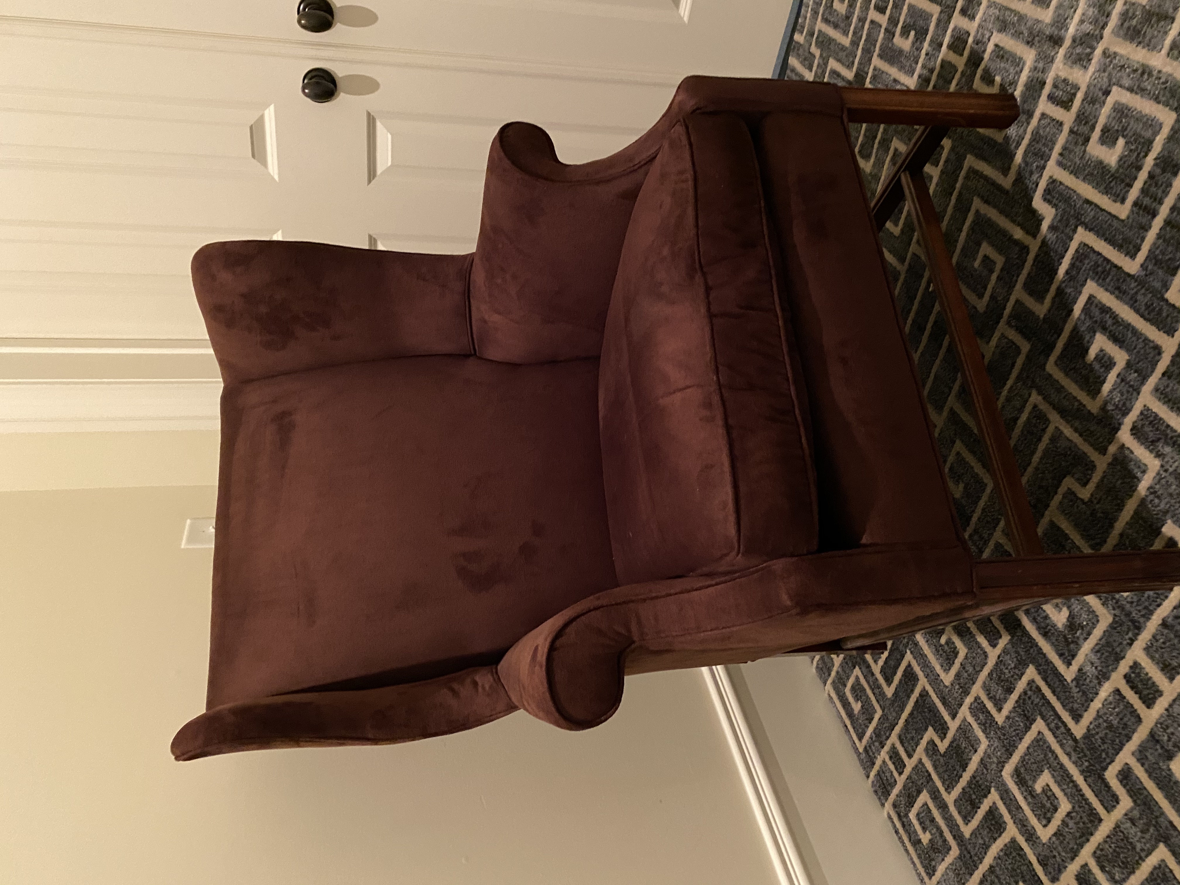 Brown Suede Wingback Chair