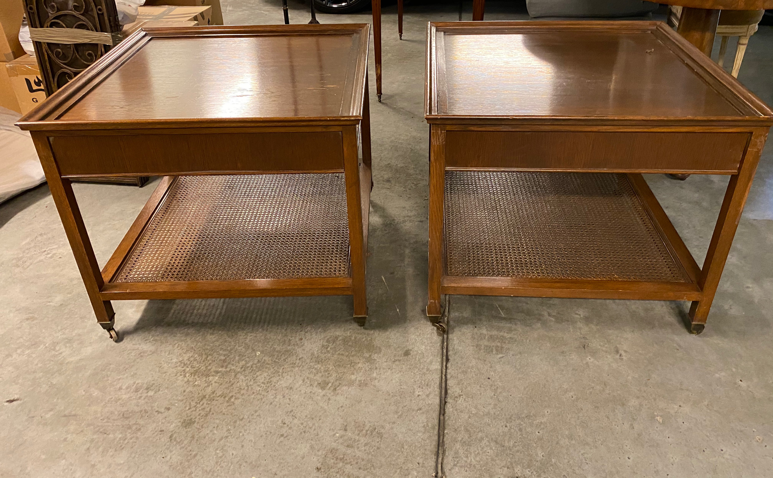 Pair of Mid-Century Wood & Cane End Tables