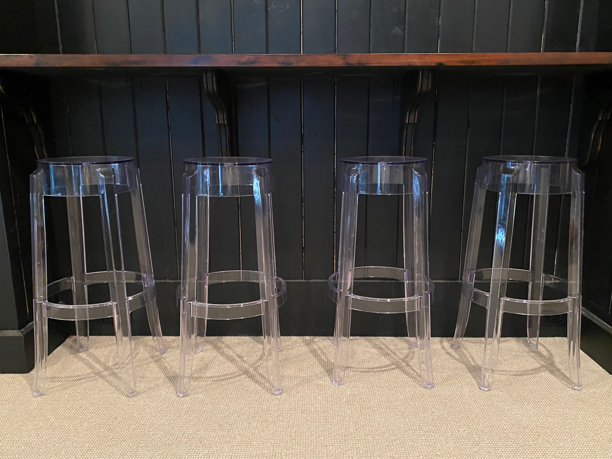 SOLD: 4 Ghost Lucite Barstools