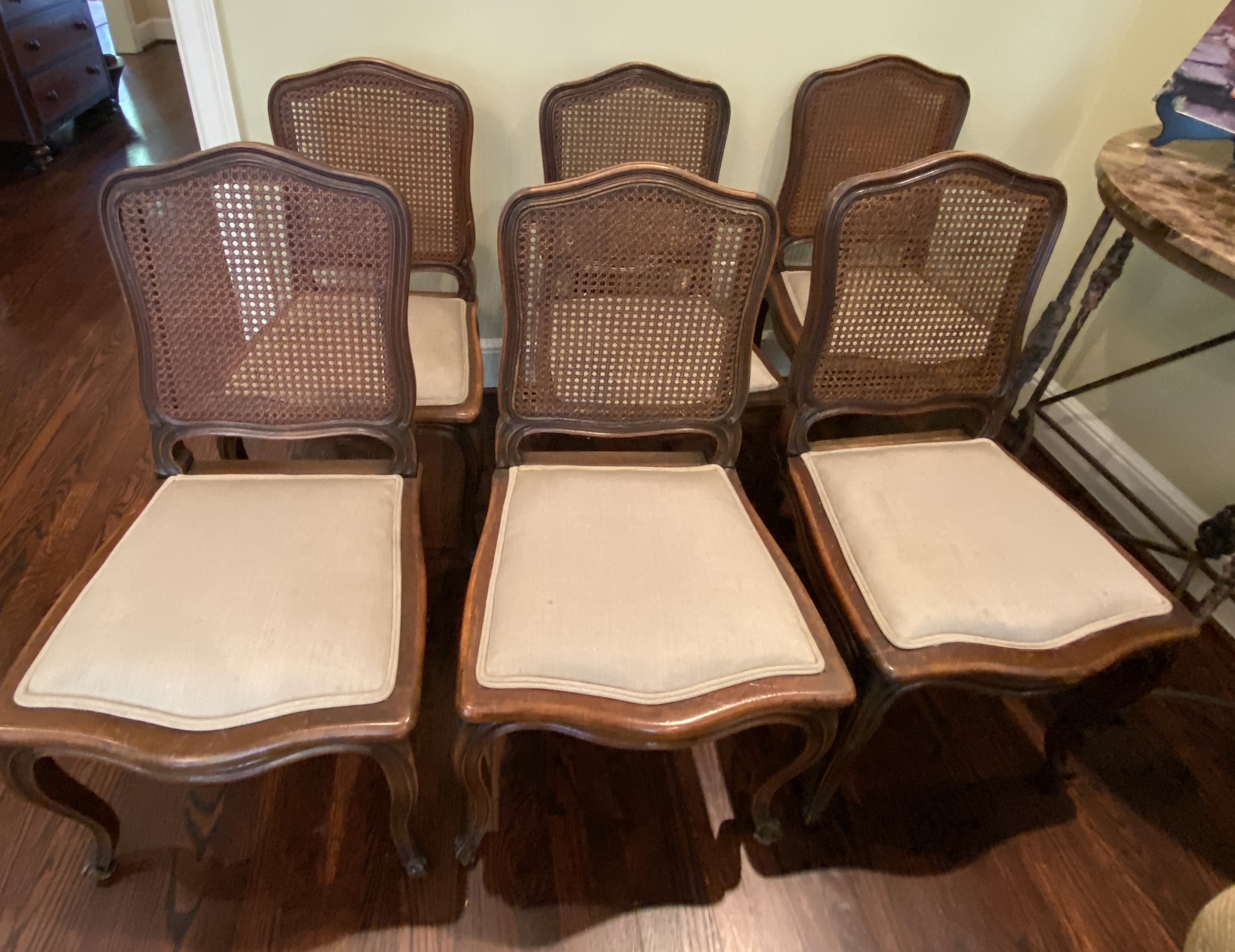 SOLD: 6 cane dining chairs