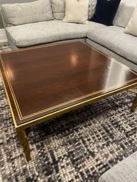 Wood and Brass Coffee Table