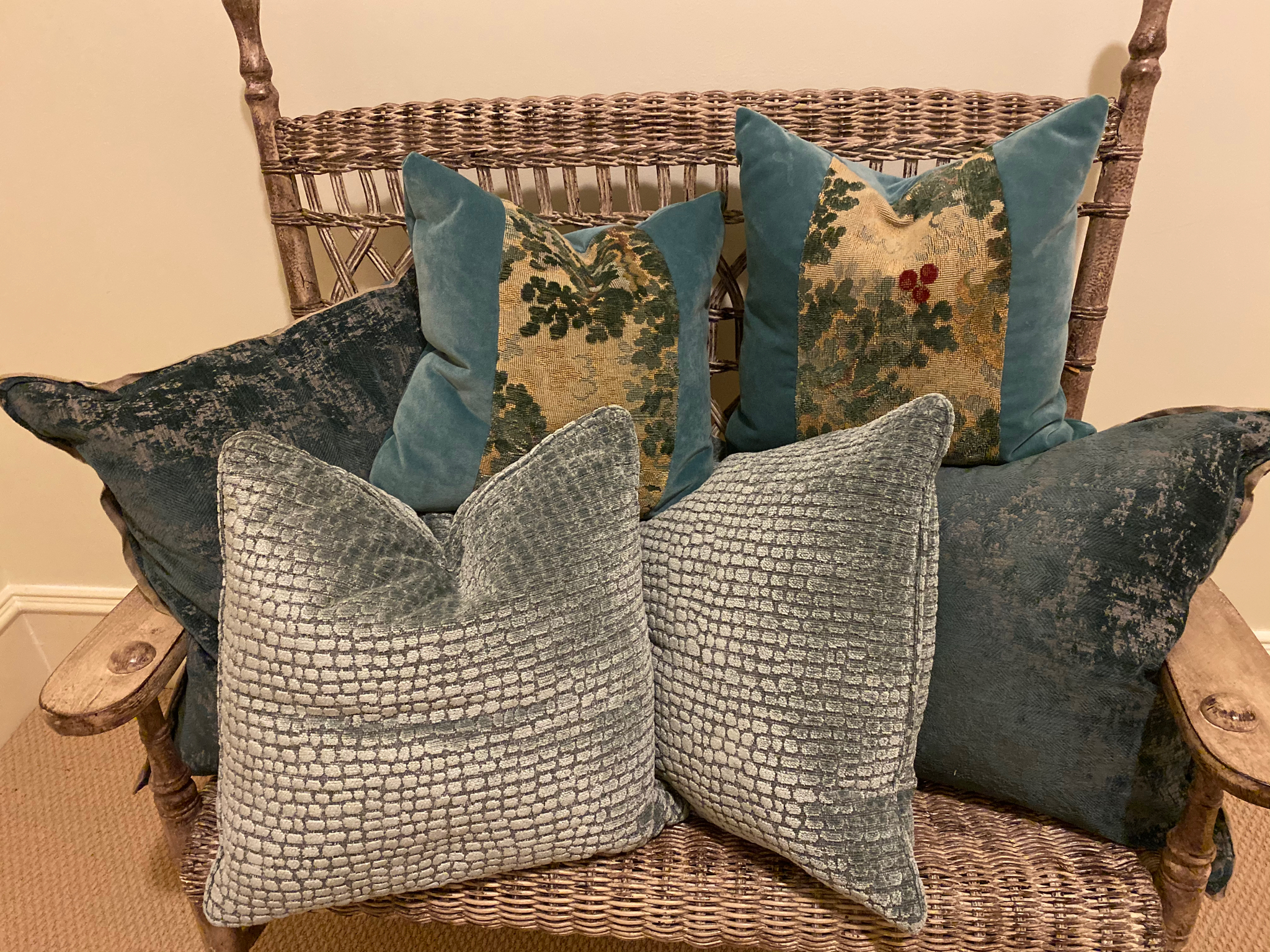 Collection of blue pillows