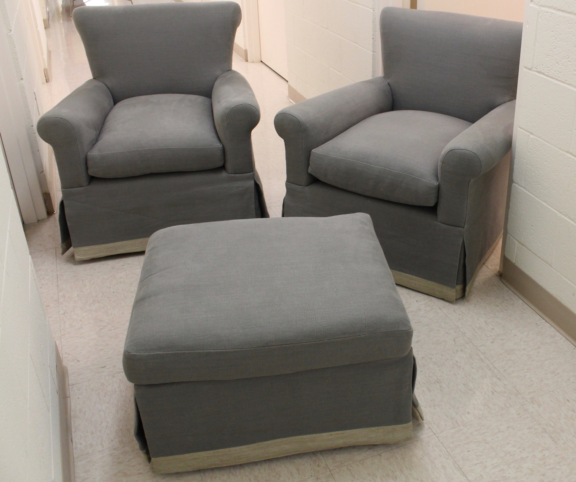 Pair of Custom Club Chairs & Ottoman