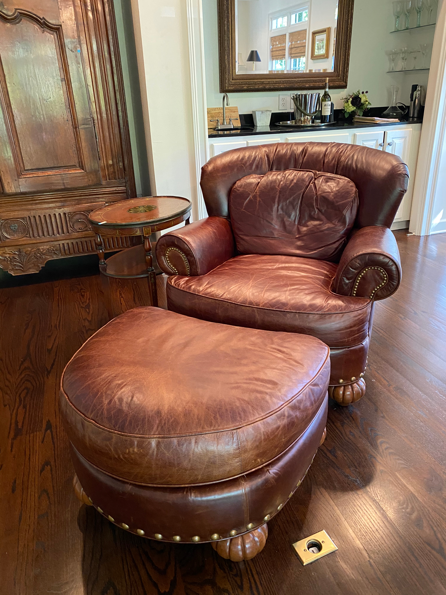 Pair of Leather Chairs & Ottomans