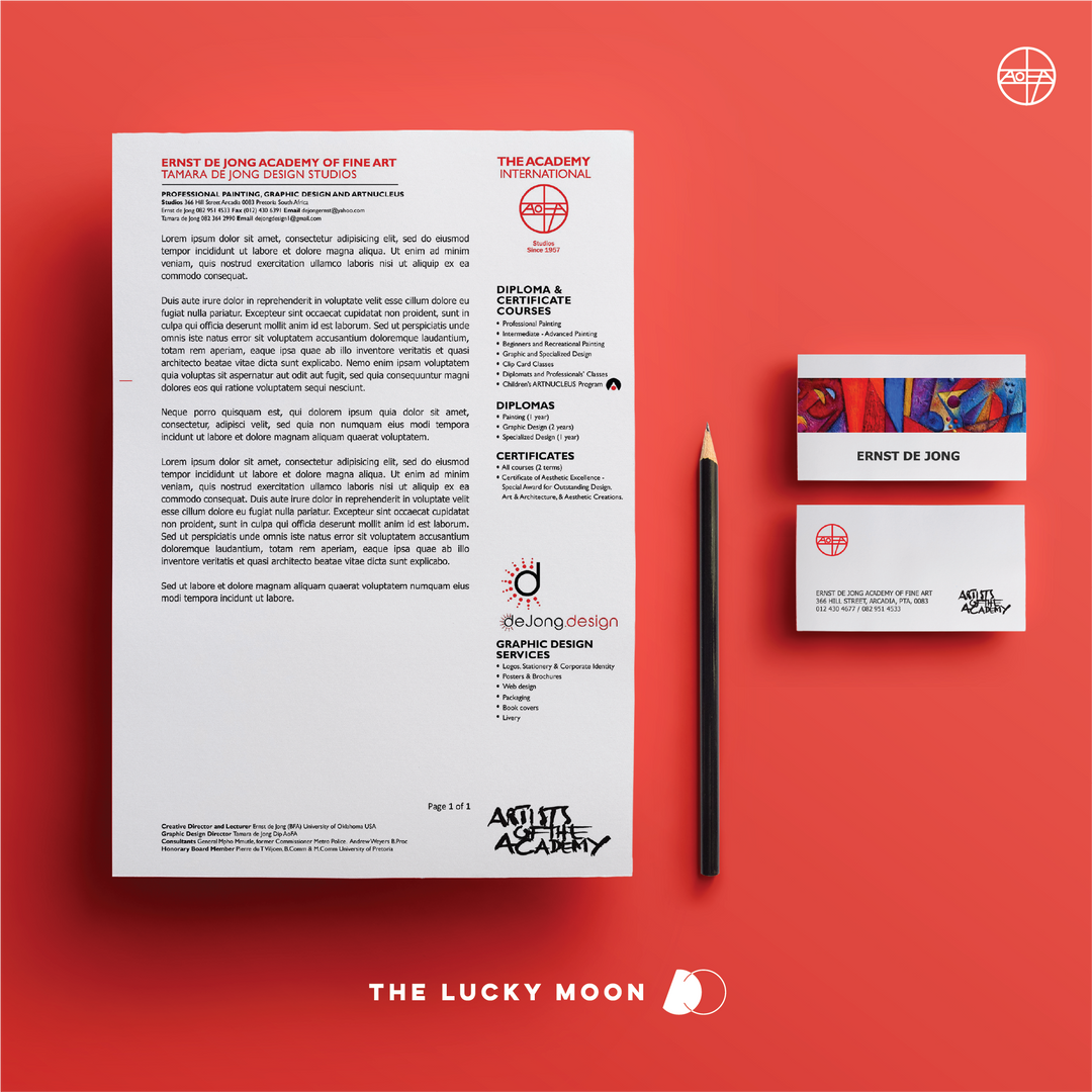 AoFA/de Jong Design Letterhead and Business Cards