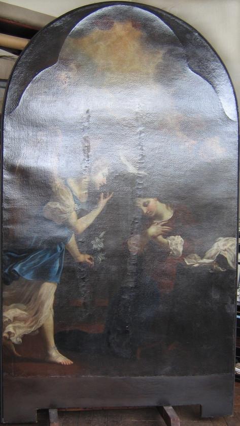 Škréta, Zvěstování, před restaurováním_u