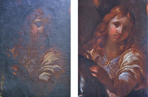 Škréta, sv. Václav, srovnání před a po r