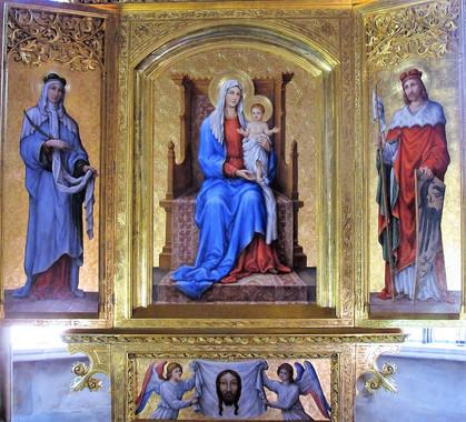 oltářní obrazy po celkové hypotetické rekonstrukci dle archivní fotografie, která poskytuje pouze ikonografickou informaci o původní malířské výzdobě oltáře