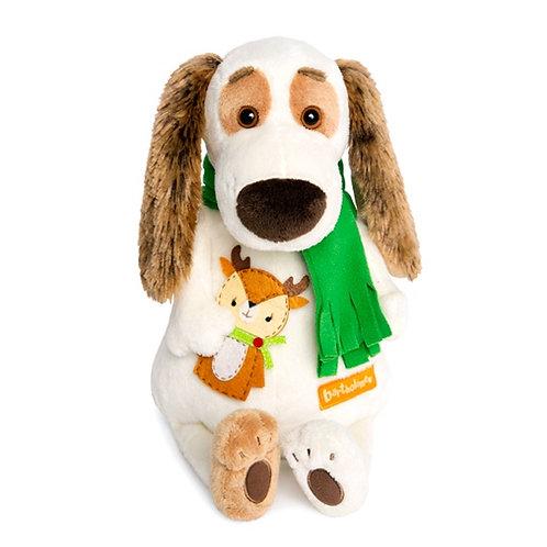 Мягкая игрушка Бартоломей в шарфе и с оленем 27см BUDI BASA