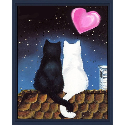 Картина стразами Кошачья романтика 20х25см