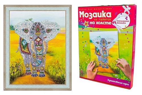 Мозаика ВОЛШЕБНАЯ МАСТЕРСКАЯ МХ-03 Слон (холст)