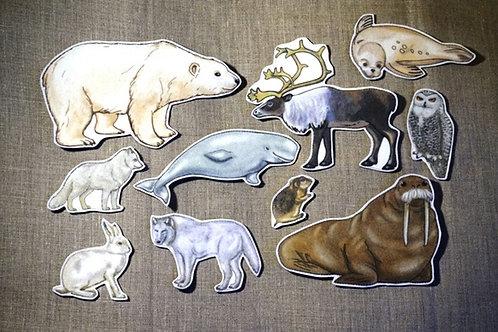 Игровой набор фигур для фланелеграфа Животные Арктики Наивный мир
