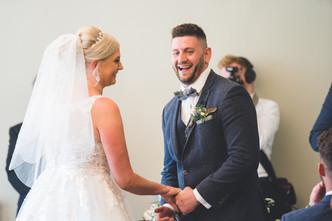 laughing groom and bride at homewood park bath wedding venue