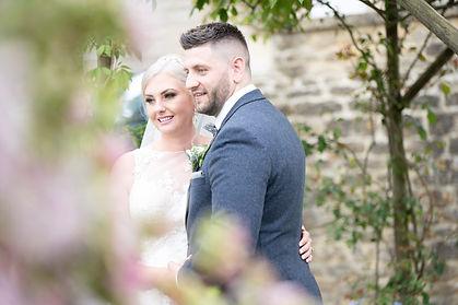 Couple smiling at homewood park bath wedding