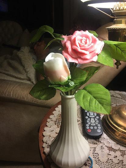 Soap Flowers Bud Vase