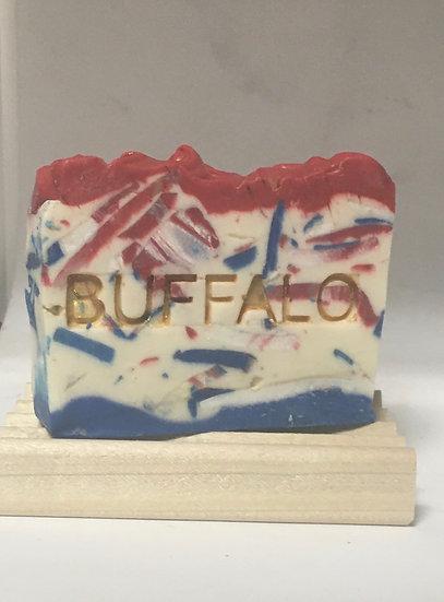 Bills Mafia Buffalo Soap on a wood soap saver