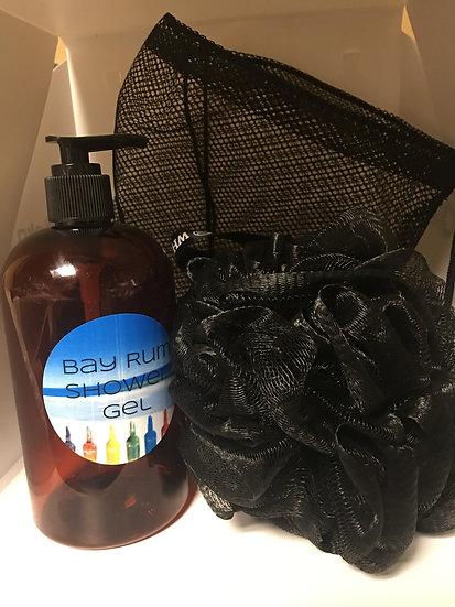 Large Sized Shower Gel, Shower Pouf and Mesh Shower Bag