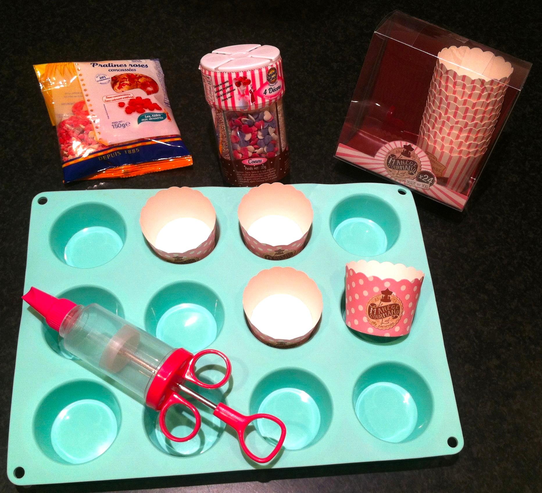 Cupcakes aux pralines roses