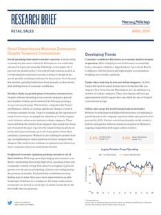 April 2019 | Retail Sales Research Brief