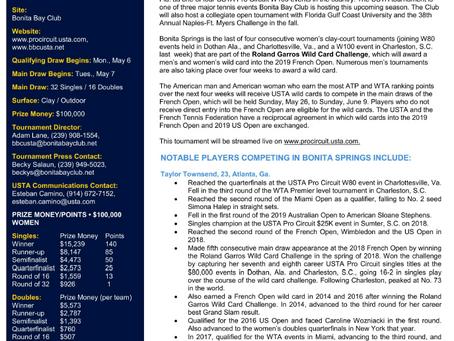 Bonita Springs Welcomes USTA Pro Circuit Women's Tennis, Concludes Roland Garros Wild Card Challenge